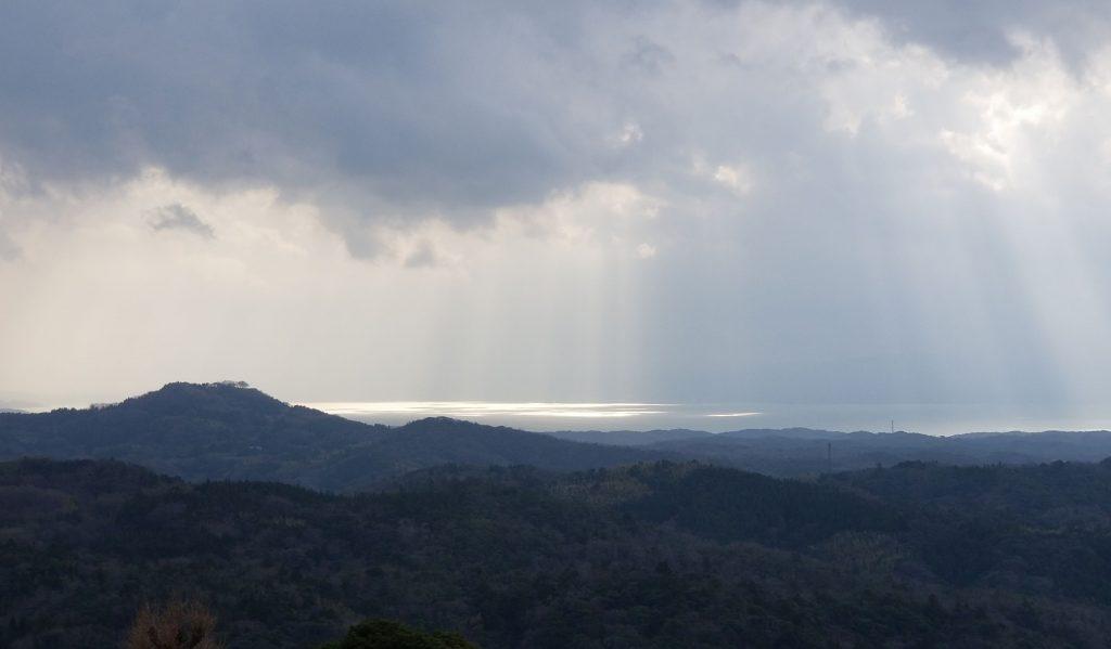 一畑薬師境内(観音堂)から宍道湖を望む